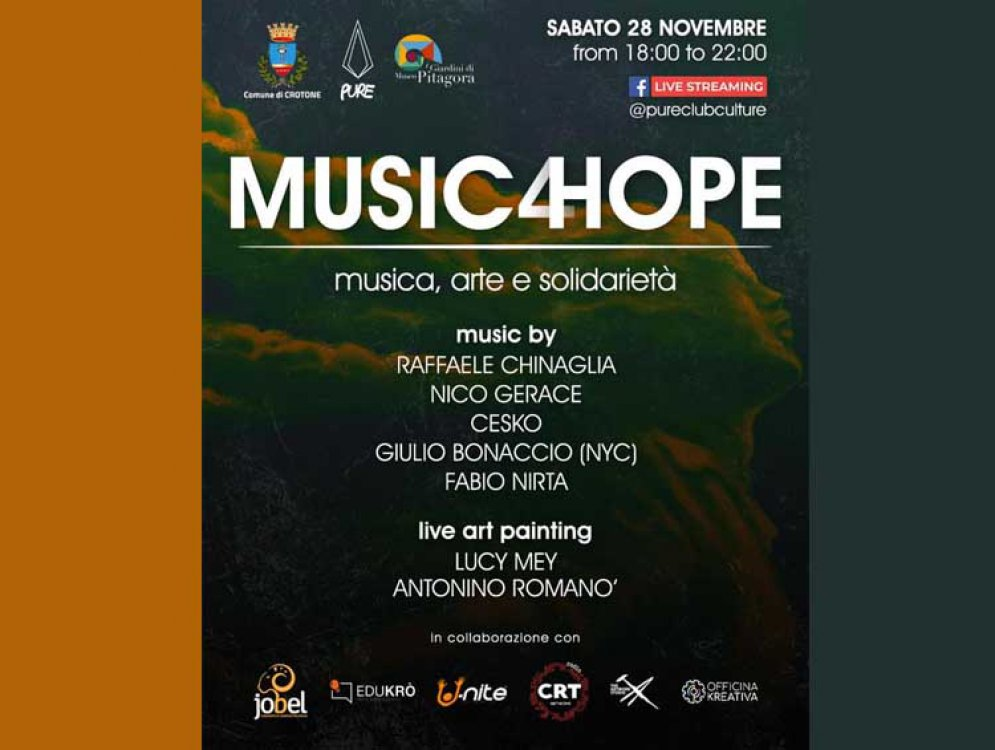 ''Music 4 Hope'': sabato musica, arte e solidarieta' con raccolta fondi live streaming